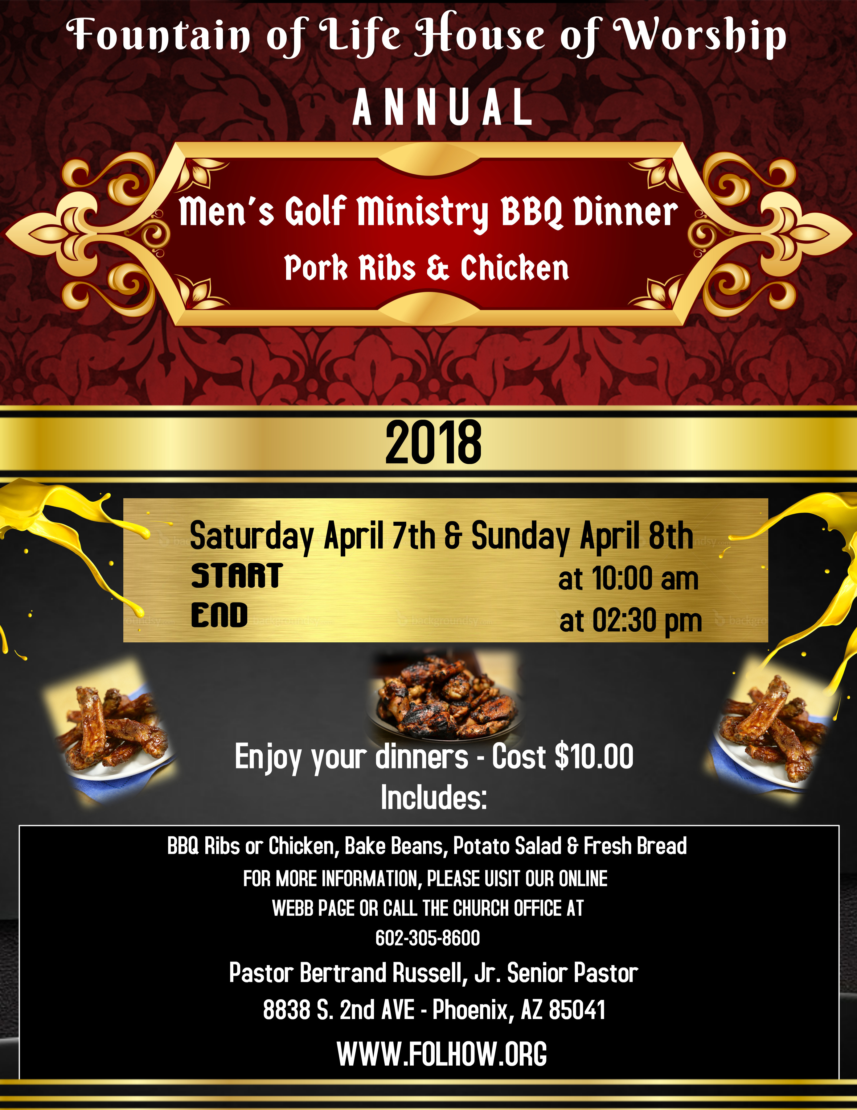 Men's Golf Ministry BBQ Dinner - Apr. 7th & 8th